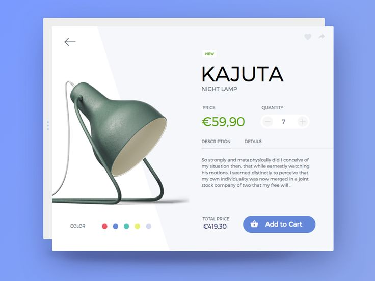 100 Days UI Design Challenge.  Day 002  Ending this beautiful day with a quick practice challenged by @Paul Flavius Nechita with my Day 02 - Product card.