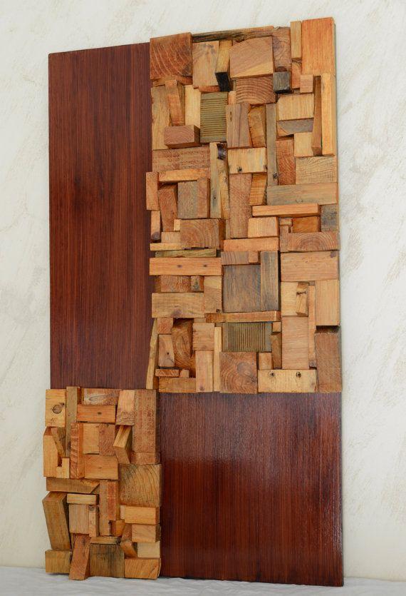 The island. Wood wall art. Wall sculpture reclaimed by Imarteko