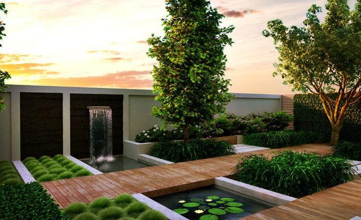 Great modern water garden.