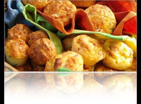 Muffin de queijo e bacon - Veja mais em: http://www.cybercook.com.br/receita-de-muffin-de-queijo-e-bacon.html?codigo=98328