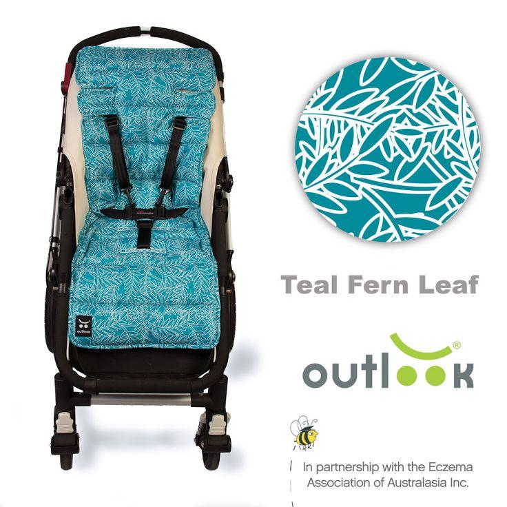 Outlook Cotton Pram Liner Teal Fern Leaf