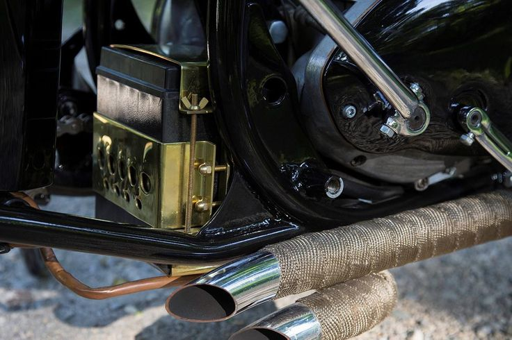 Custom Brass Battery Box - rear mount tucked in behind engine gives the appearance of floating #custommotorcycles #motorcycles #choppers #bobbers #brass