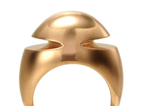 modernist chic bvlgari cabochon pink gold ring