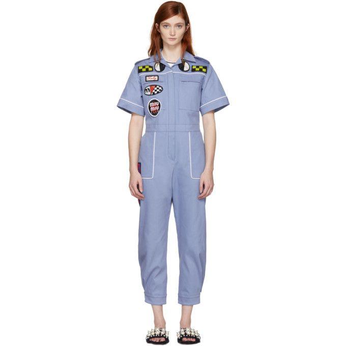 MIU MIU Blue Denim Mechanic Jumpsuit. #miumiu #cloth #