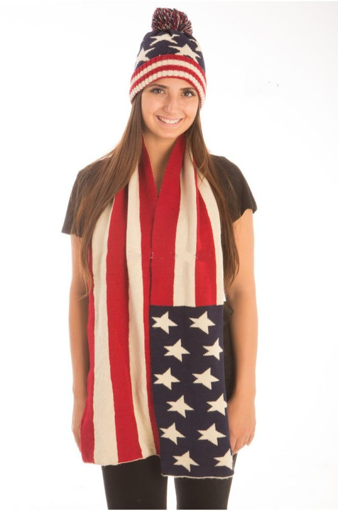 Usa American Flag Scarf And Watch Cap Beanie Knit Winter Hat Pom Pom 2 Pieces Lidacollection Beanieandscarf Watch Cap Beanie American Flag Scarf Flag Scarf