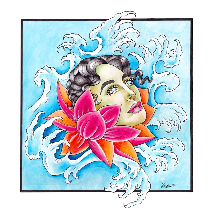 """Original drawing by Whitney Wilkie """"Lotus Face"""" 12x12 full color print $20"""