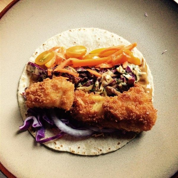 """Fish Tacos with Honey-Cumin Cilantro Slaw and Chipotle Mayo 