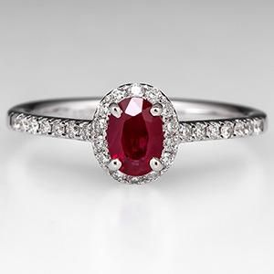 Ruby Engagement Ring W Diamond Halo 18K White Gold