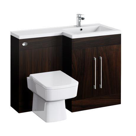 Valencia 1100 Combination Basin & WC Unit | Dark Wood | Online Now