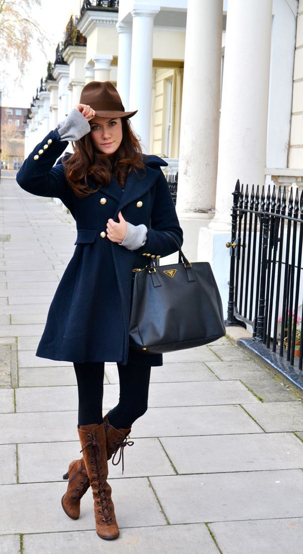 I love boots, coats, nice bags with a nice hat all put together