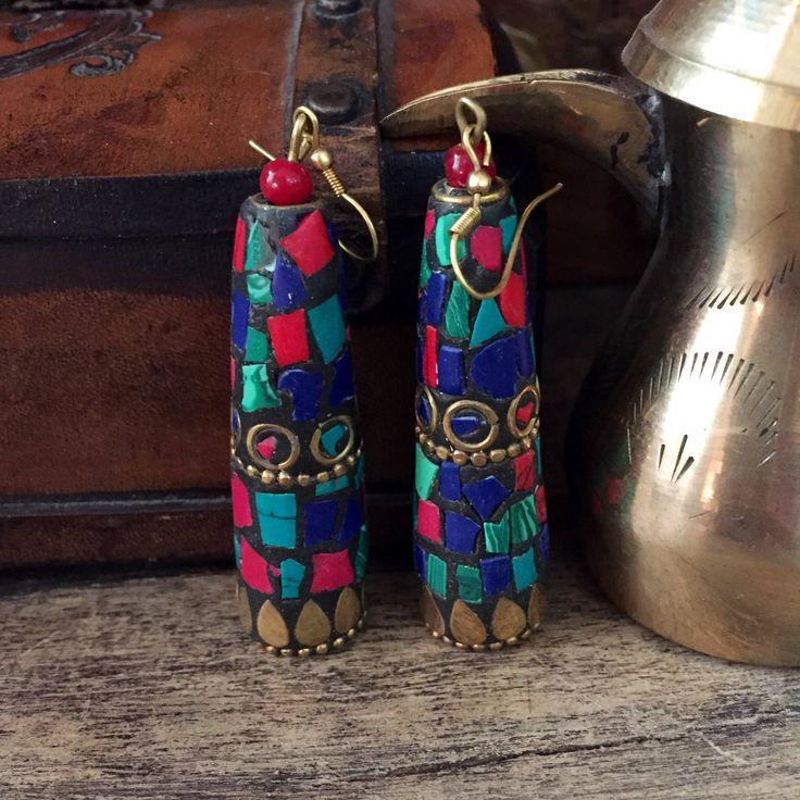 Gypsy earrings  - Tibetan earrings - handmade - mosaic  -  ethnic earrings - brass - Tibetan jewelry by Omanie on Etsy