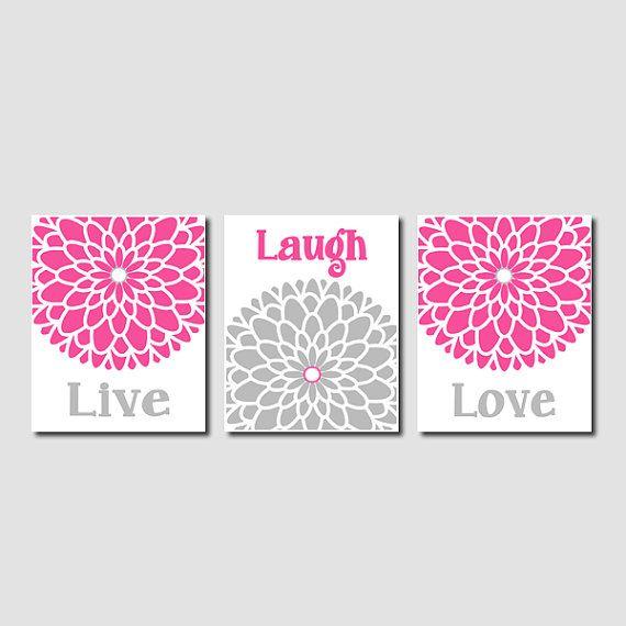 Elegant Modern Floral Flower Flourish Hot Pink Grey Artwork Set Of 3 Trio Prints Live  Laugh Love Wall Art Decor Bedroom Bathroom Bath Home Picture