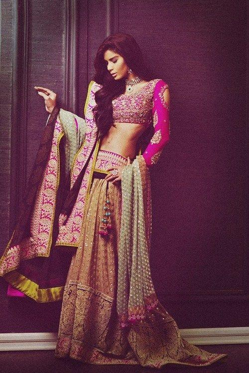 #Pakistan, #Desi #Fashion: http://wwwSanaSafinaz.com/ Gold #Lehenga w/ short #Fuchsia full-sleeved #Choli & Pistachio Green Dupatta.