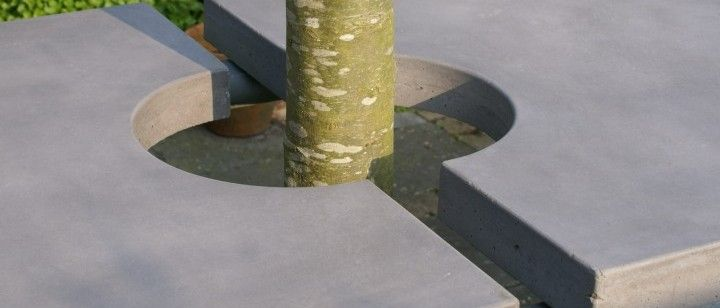 Concrete table with steel piping