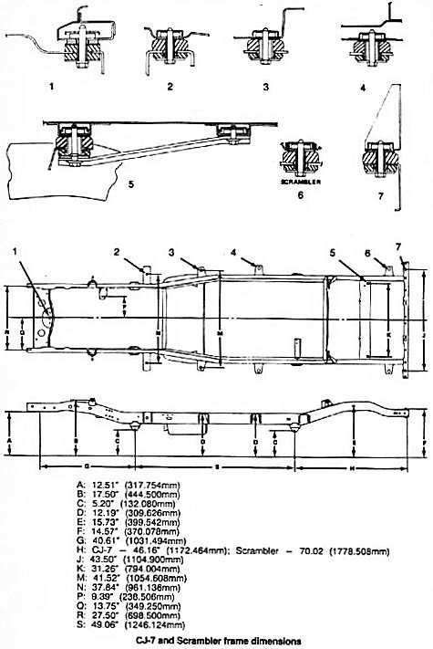 The following images outline the frame dimensions on late model (76-86) CJ vehicles. These images can come in handy when attempting to straighten or customize a Jeep frame. Also see CJ-5 Frame Repl…