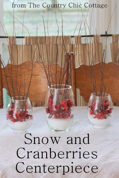 Snow and cranberries centerpiece sparkle the old