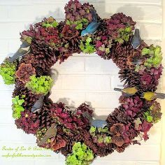 fall decorating dried hydrangeas, crafts, home decor, seasonal holiday d cor, thanksgiving decorations, wreaths, Dried hydrangea blossoms from my garden accent our pinecone wreath for Fall for free Another of my Use What You Have projects See more at