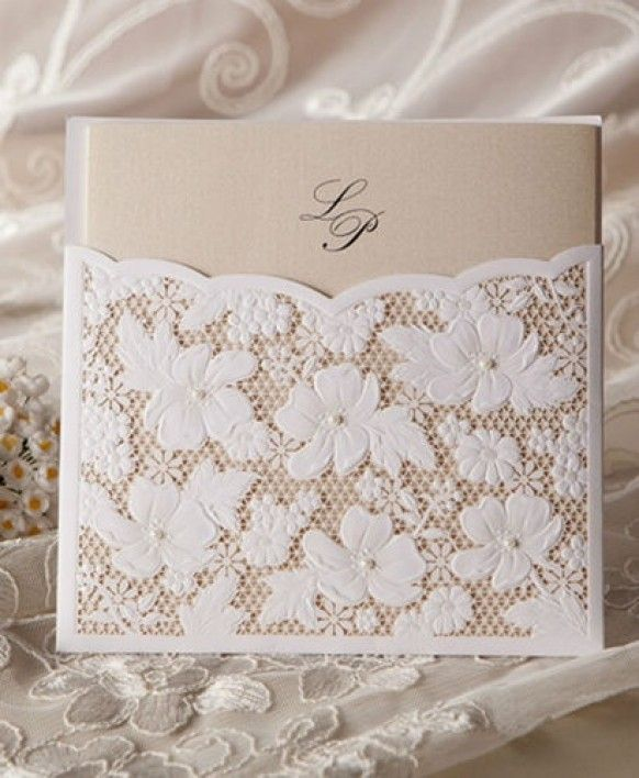 www.weddbook.comeverything about wedding ♥Lace Pocket Card Wedding Invitation#invitation #wedding #lace