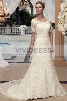 A-line Scalloped-Edge Court Train Short Sleeve Lace Wedding Dresses L20150453 http://www.vividress.co.uk/a-line-scalloped-edge-court-train-short-sleeve-lace-wedding-dresses-l20150453.html