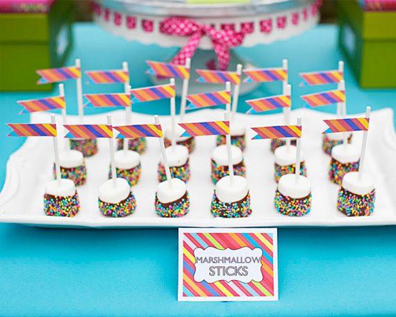 Marshmallow pops...cute: Theme Birthday Parties, Kids Parties, Marshmallow Pops, Sticks, Parties Ideas, Desserts Tables, Marshmallows Pop, Birthday Ideas, Marshmallows Treats