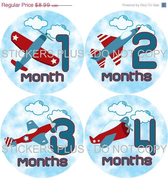 SALE Monthly Baby Onesie T Shirt Stickers Boy Airplane Jet Plane in Sky Blue Red - 1-12 Months Plus BONUS Just Born - Gift. $7.91, via Etsy.
