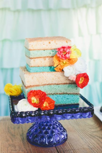 fun wedding cake by http://www.thescootabaker.com | Photography by onelove-photo.com |   Read more - http://www.stylemepretty.com/2013/07/03/color-blocked-wedding-inspiration-from-onelove-photography/