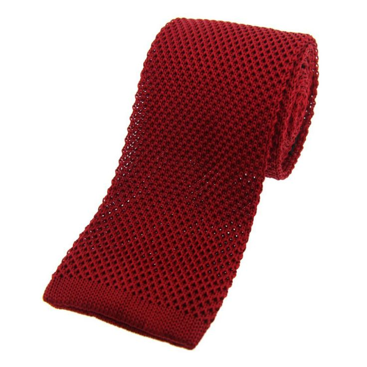 Knitted Silk Tie, Red