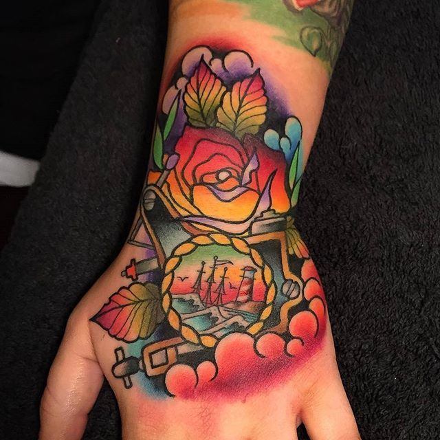 WEBSTA @ tattoosnob - Hand tattoo by @richwarburtontattooist at DPE Tattoo Lounge in Stoke on Trent, U.K. #richwarburtontattooist #richwarburton #dpetattoolounge #stokeontrent #uk #unitedkingdom #england #handtattoo #seatattoo #shiptattoo #tattoomachinetattoo #rosetattoo #tattoo #tattoos #tattoosnob