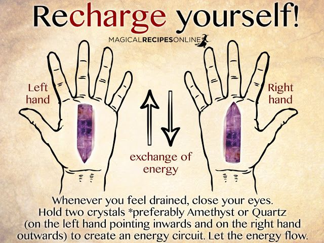 Whenever you feel drained, close your eyes.  Hold two crystals *preferably Amethyst or Quartz  (on the left hand pointing inwards and on the right hand  outwards) to create an energy circuit. Let the energy flow.  circuit. http://beyondenigma.com