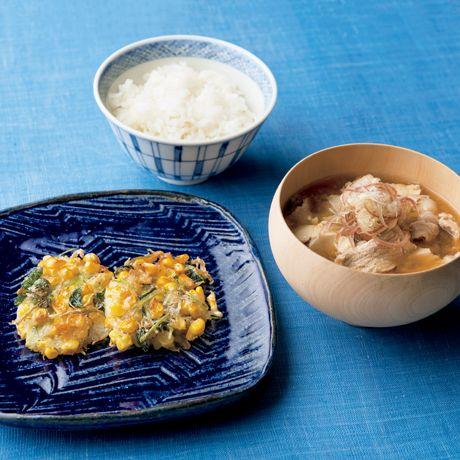 焼きかき揚げ定食 | 吉岡英尋さんの天ぷら・かき揚げの料理レシピ | プロの簡単料理レシピはレタスクラブニュース