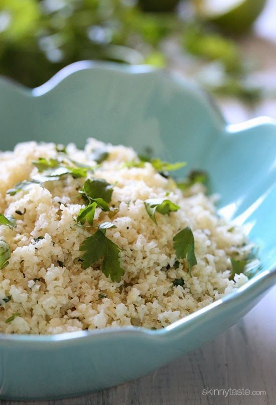 "Cilantro Lime Cauliflower ""Rice"" 