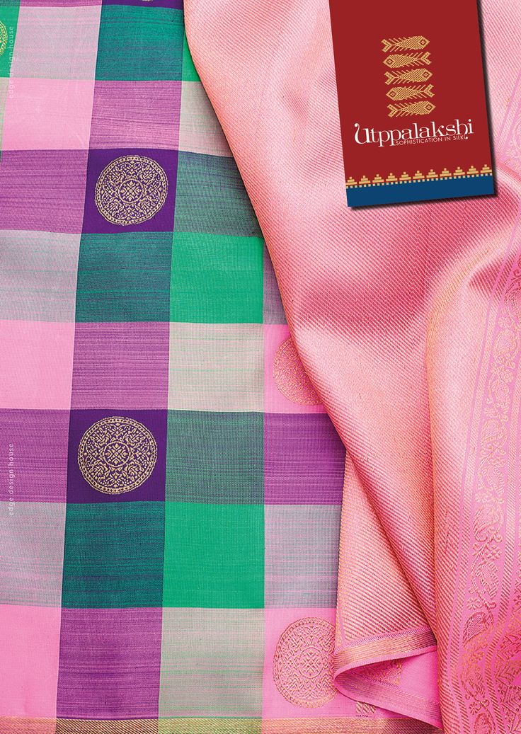 Mama mia!  A throwback to the charms of a retro style multi-hued checked saree. The in vogue colours - shades of pink, green, grey and gold - bring an everlasting appeal to the saree.#Utppalakshi #Sareeoftheday#Silksaree#Kancheevaramsilksaree#Kanchipuramsilks #Ethinc#Indian #traditional #dress#wedding #silk #saree#craftsmanship #weaving#Chennai #boutique #vibrant#exquisit #pure #weddingsaree#sareedesign #colorful #elite