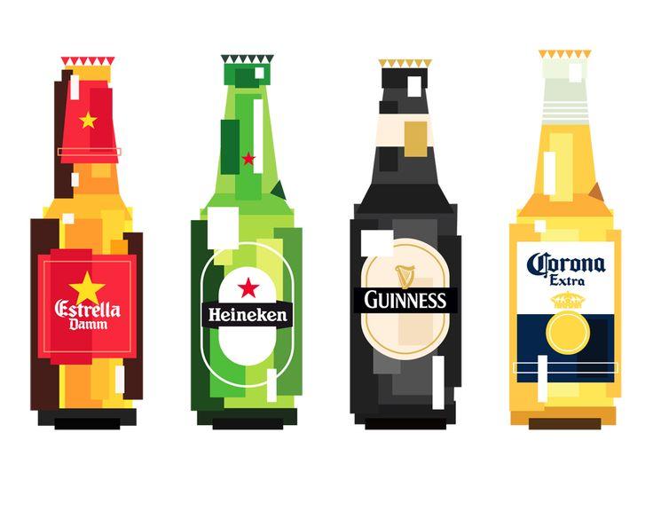Des bières pixelisées