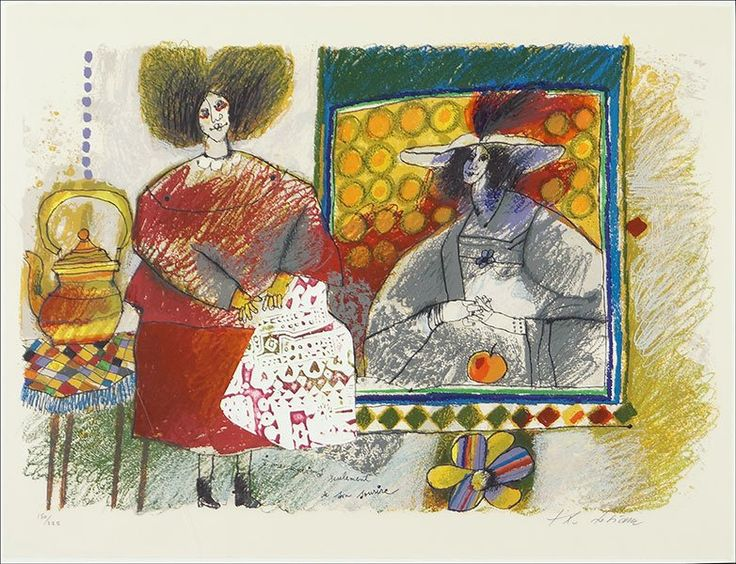 "Theo Tobiasse (Palistine, 1927-2012) I Remember. Mixed media on paper. Pencil numbered 150/225 LL. Pencil signed LR Sheet: 23"" x 30"" Frame: 29"" x 36"""