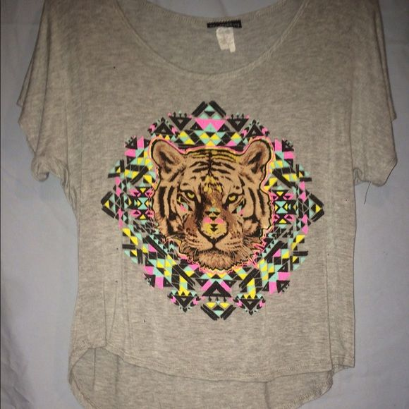 Flowy Geometric Tiger Shirt loose fitting with very vibrant colors. very slightly worn. say anything Tops Tees - Short Sleeve