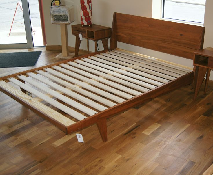 Modern One Platform Bed Mid Century Solid Wood Handmade
