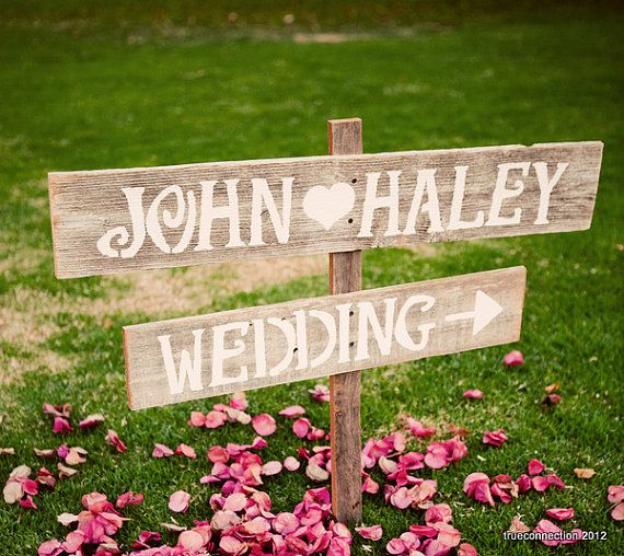 Hand Painted Wedding Signs LARGE FONT Wood Wedding Sign. Reception Decorations. Outdoor Wedding Decor. $65.00, via Etsy.