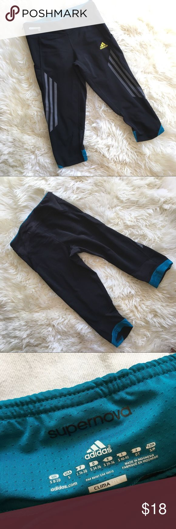 Adidas Supernova Crop Running Leggings Women's S EUC. Very cute pair of adidas knee length running tights. They run just past the knee to the top of the calf. Great condition with no pilling or over stretching adidas Pants Leggings