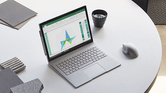 Surface Book 2 in workspace with Surface Precision Mouse and