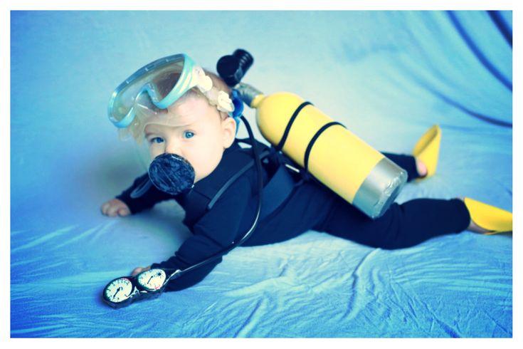 Best baby costume 2013!! Little scuba diver. DIY scuba costume.