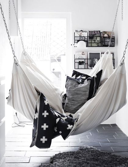 I Must Have A Hammock In Our Next House! Love This Cozy Hammock With All  The Pillows And Blankets. Fun Idea For The Living Room, Family Room, Or  Kids Room.