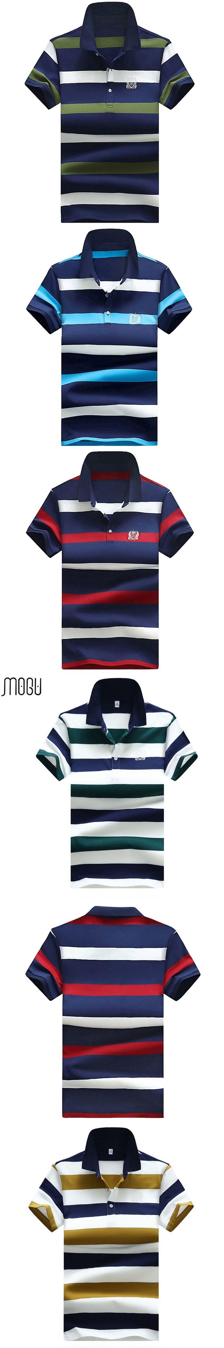 MOGU Short Sleeve Polo Shirt Men 2017 Summer New Fashion Stripe Polo Shirt Men High Quality Polo Asian Size 4XL Men's Polo Shirt