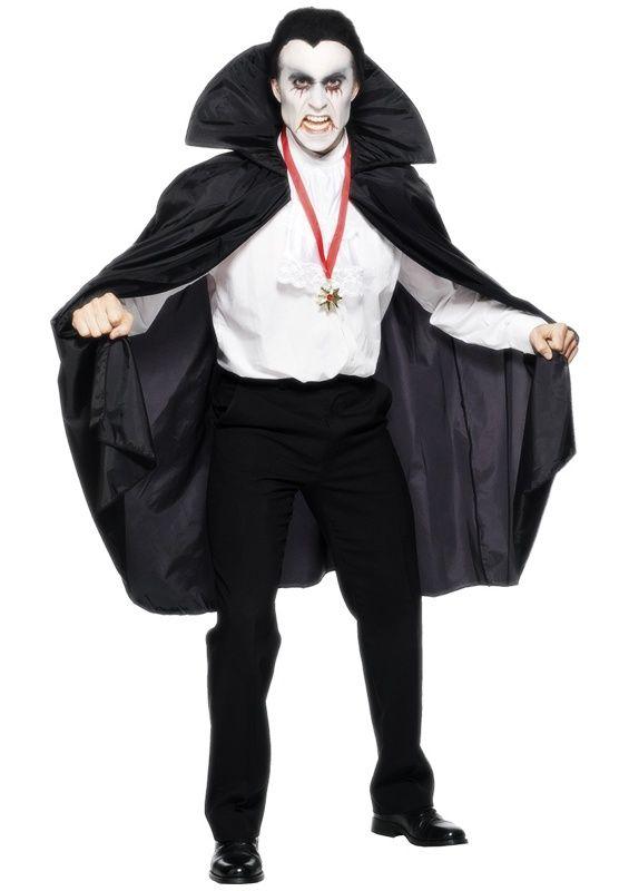 Czarna peleryna wampira z usztywnianym kołnierzem, wiązana z przodu tasiemkami.  Doskonała na imprezę Halloween.