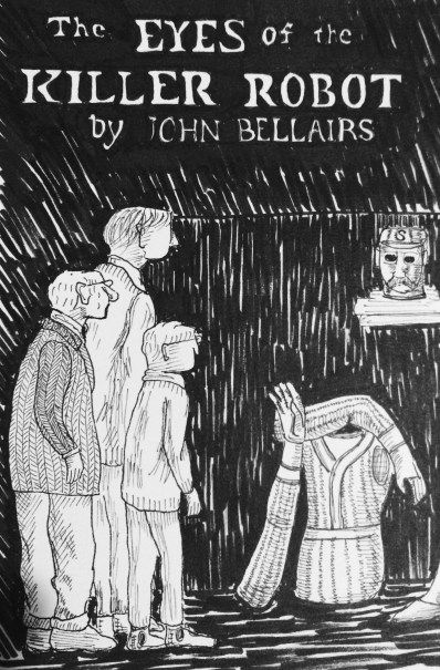 Another Edward Gorey reproduction, from the cover of a John Bellairs novel.  I love the way Edward Gorey gives his characters long, rectangular heads.