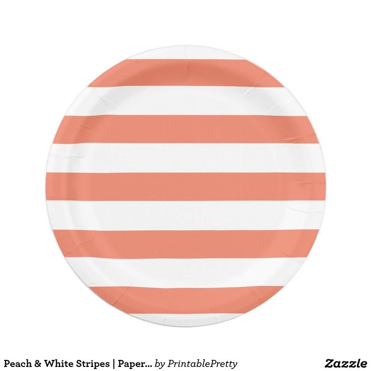 Peach u0026 White Stripes | Paper Plates  sc 1 st  Pinterest & 1000+ best Custom Party PAPER PLATES images on Pinterest | Christmas ...