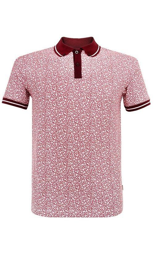 Merc London Murray Mens Paisley Polo Shirt Oxblood Size Extra Large BNWT