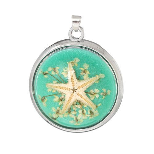 PENDANTS - RESIN - ROUND - TRANSPARENT - GREEN - GENUINE STARFISH - 38x31mm. AVAILABLE AT:http://www.bidorbuy.co.za/item/232382825/PENDANTS_RESIN_ROUND_TRANSPARENT_GREEN_GENUINE_STARFISH_38x31mm.html