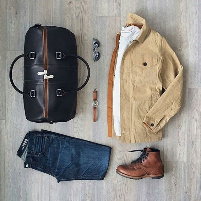 Follow @inisikpe for daily style  #suitgrid to be featured  ________________________________________ #SuitGrid by @mitchyasui ________________________________________  Tap For Brands Jacket: @timberland Shirt: @jachsny Denim: @gap Shoes: @redwingshoes Watch: @timex x @redwingheritage Duffle Bag: @martindingman1990