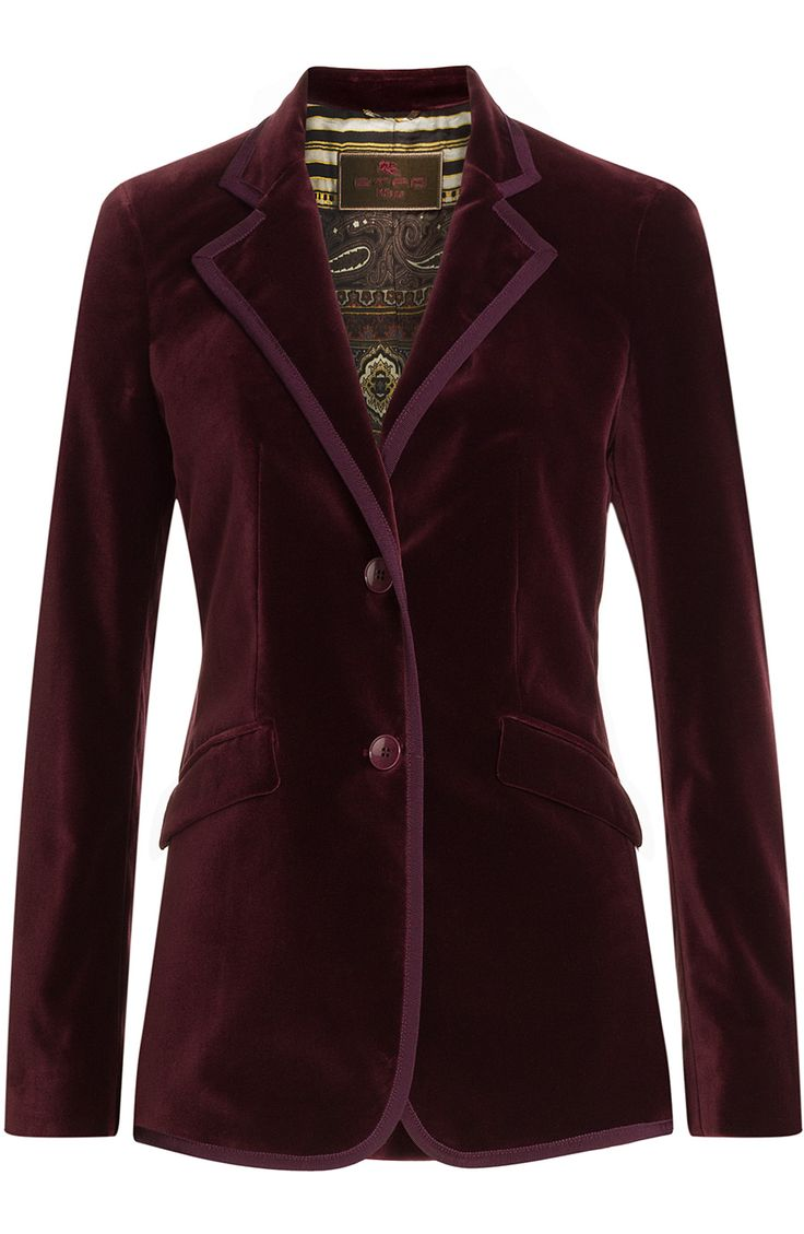 Etro's plush velvet blazer is dyed in a majestic shade of aubergine, making it a dramatic staple that will add impact to any outfit. The slick lapels and fitted silhouette anchor the statement #Stylebop