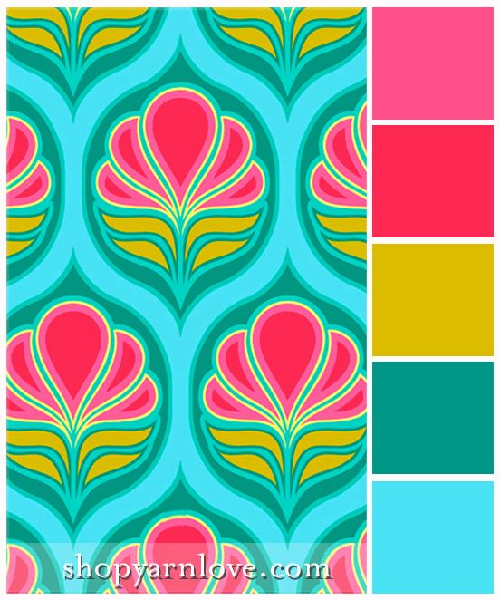 Art deco flowers color palette bright bold pink fuchsia - Art deco color combinations ...